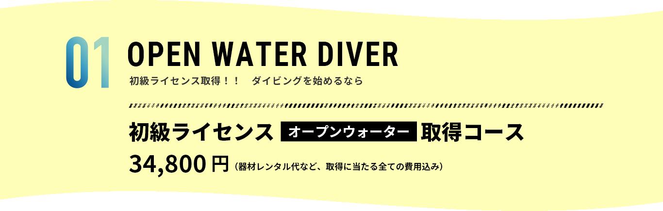 OPEN WATER DIVER 初級ライセンス取得!! ダイビングを始めるなら 初級ライセンスオープンウォーター取得コース 34,800円(器材レンタル代など、取得に当たる全ての費用込み)